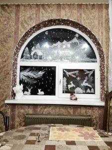 новогоднее окно д. Н.Быковка, д 122 Исаева Ольга